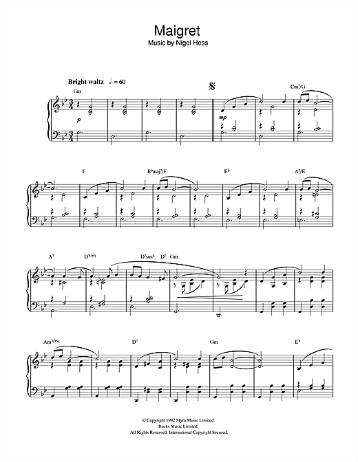 Download Nigel Hess 'Maigret' Digital Sheet Music Notes & Chords and start playing in minutes