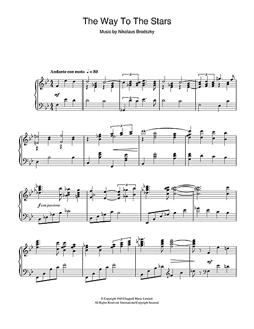 Download Nikolaus Brodszky 'The Way To The Stars' Digital Sheet Music Notes & Chords and start playing in minutes