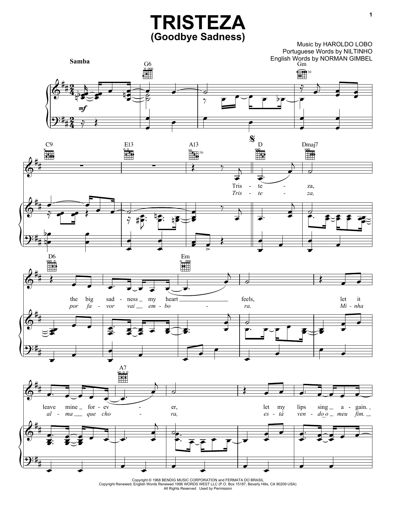Niltinho Tristeza (Goodbye Sadness) sheet music preview music notes and score for Piano, Vocal & Guitar (Right-Hand Melody) including 3 page(s)