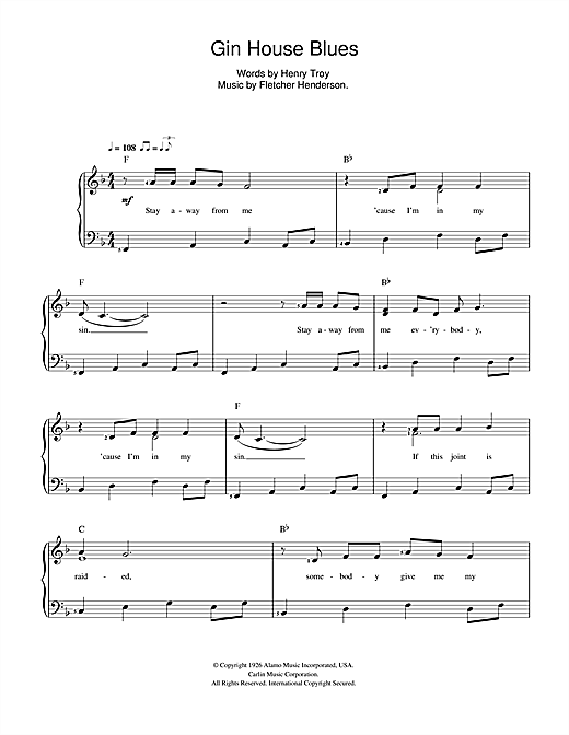 Nina Simone Gin House Blues sheet music preview music notes and score for Beginner Piano including 2 page(s)