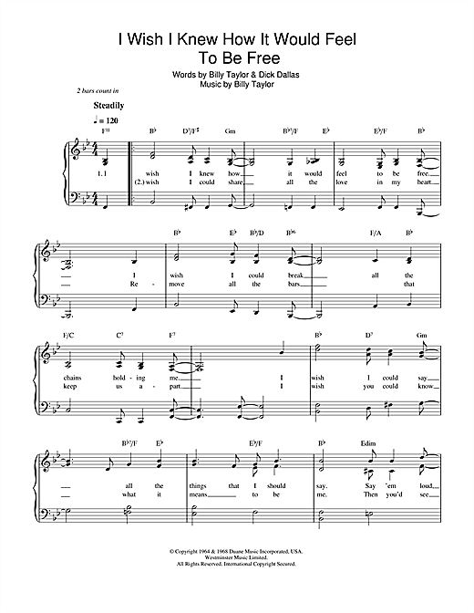 Download Nina Simone 'I Wish I Knew How It Would Feel To Be Free' Digital Sheet Music Notes & Chords and start playing in minutes