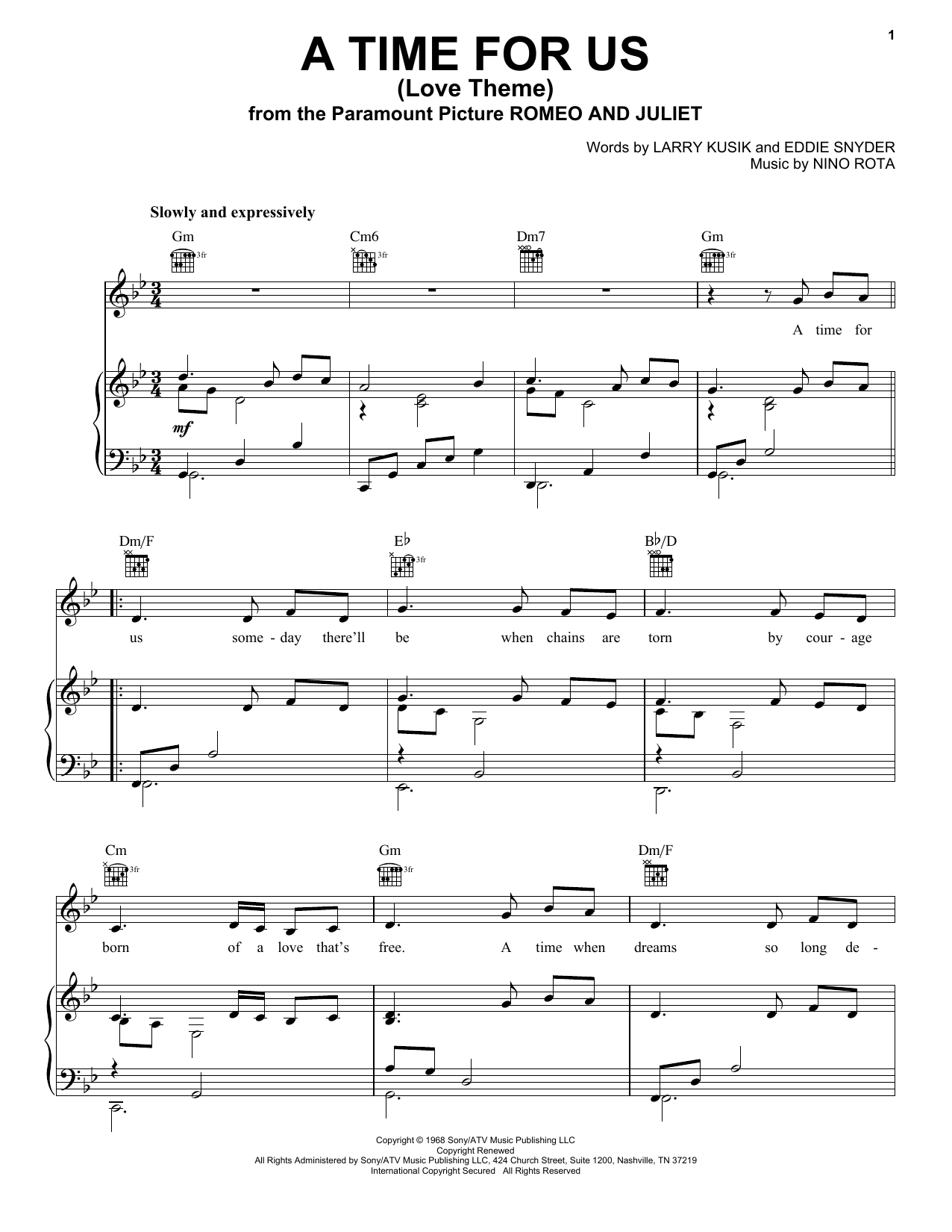 Nino Rota A Time For Us (Love Theme) sheet music preview music notes and score for Piano, Vocal & Guitar (Right-Hand Melody) including 3 page(s)
