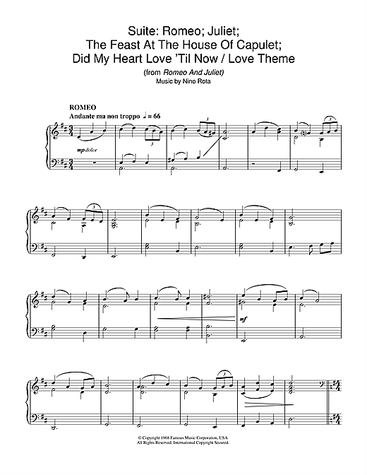 Download Nino Rota 'Suite: Romeo; Juliet; The Feast At The House Of Capulet; Did My Heart Love 'Til Now / ' Digital Sheet Music Notes & Chords and start playing in minutes