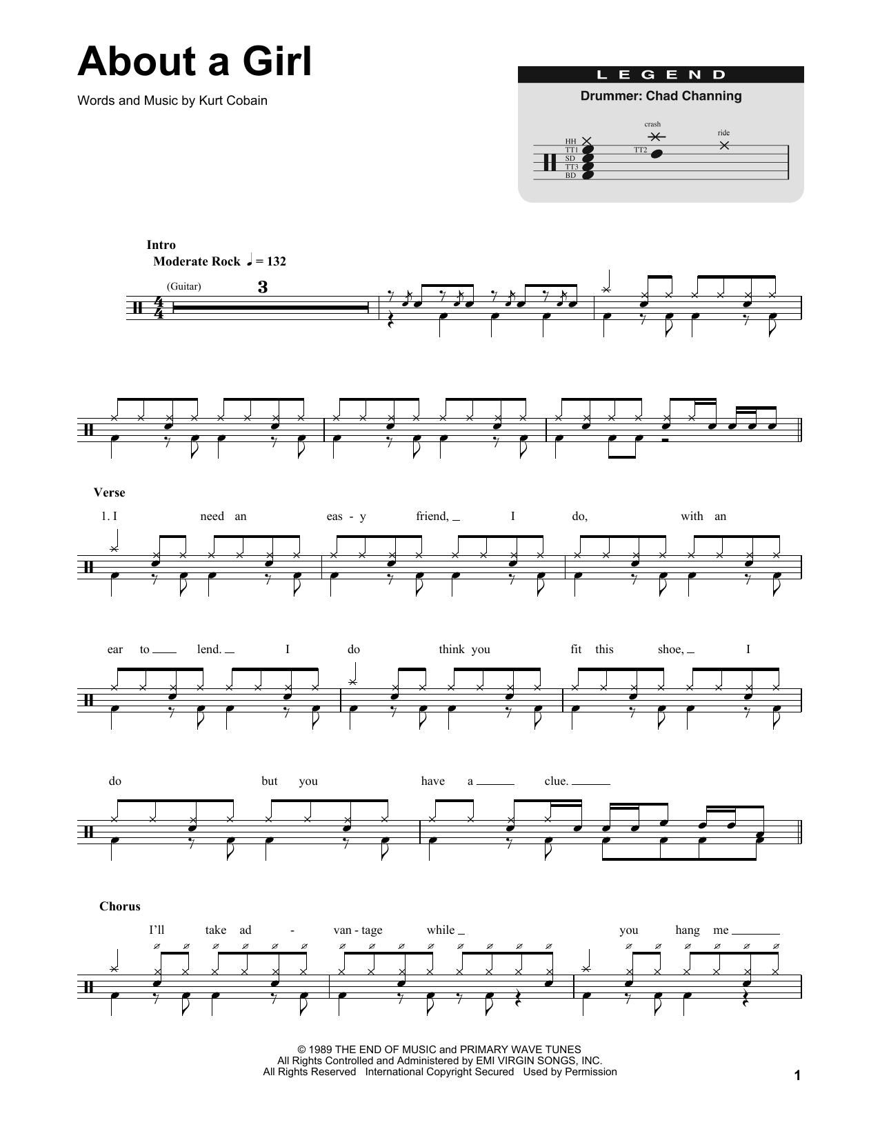 Nirvana About A Girl sheet music preview music notes and score for Guitar Tab including 4 page(s)