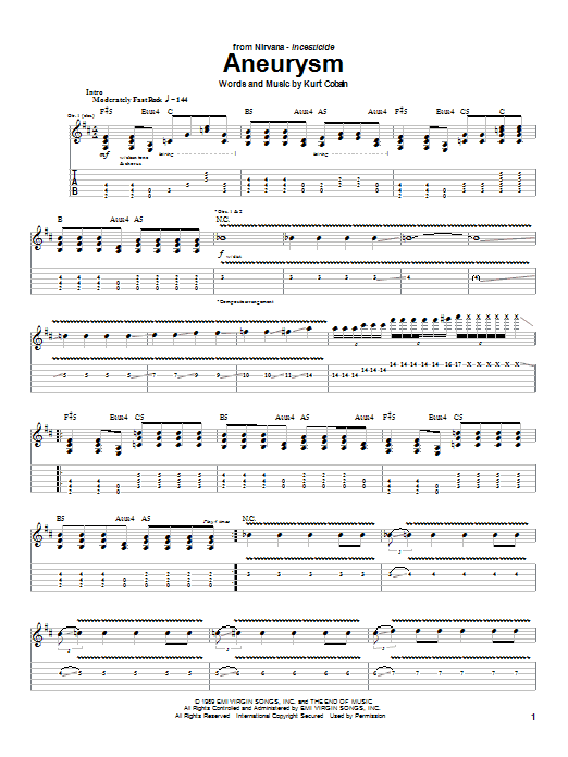 Nirvana Aneurysm sheet music preview music notes and score for Piano, Vocal & Guitar (Right-Hand Melody) including 7 page(s)