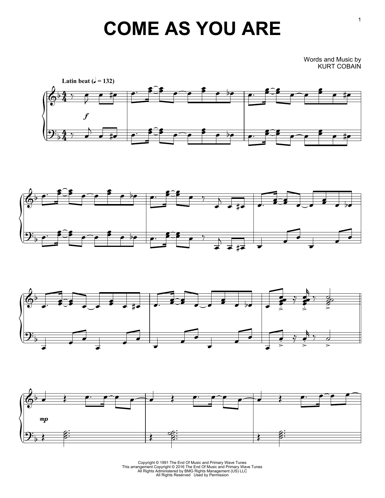 Download Nirvana 'Come As You Are' Digital Sheet Music Notes & Chords and start playing in minutes