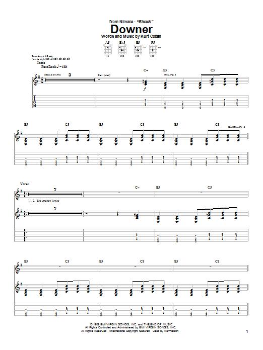 Nirvana Downer sheet music notes and chords
