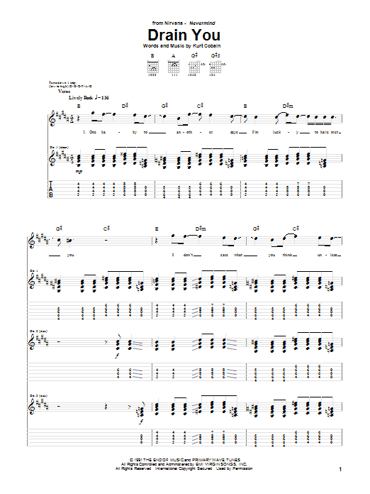 Nirvana Drain You sheet music preview music notes and score for Bass Guitar Tab including 4 page(s)