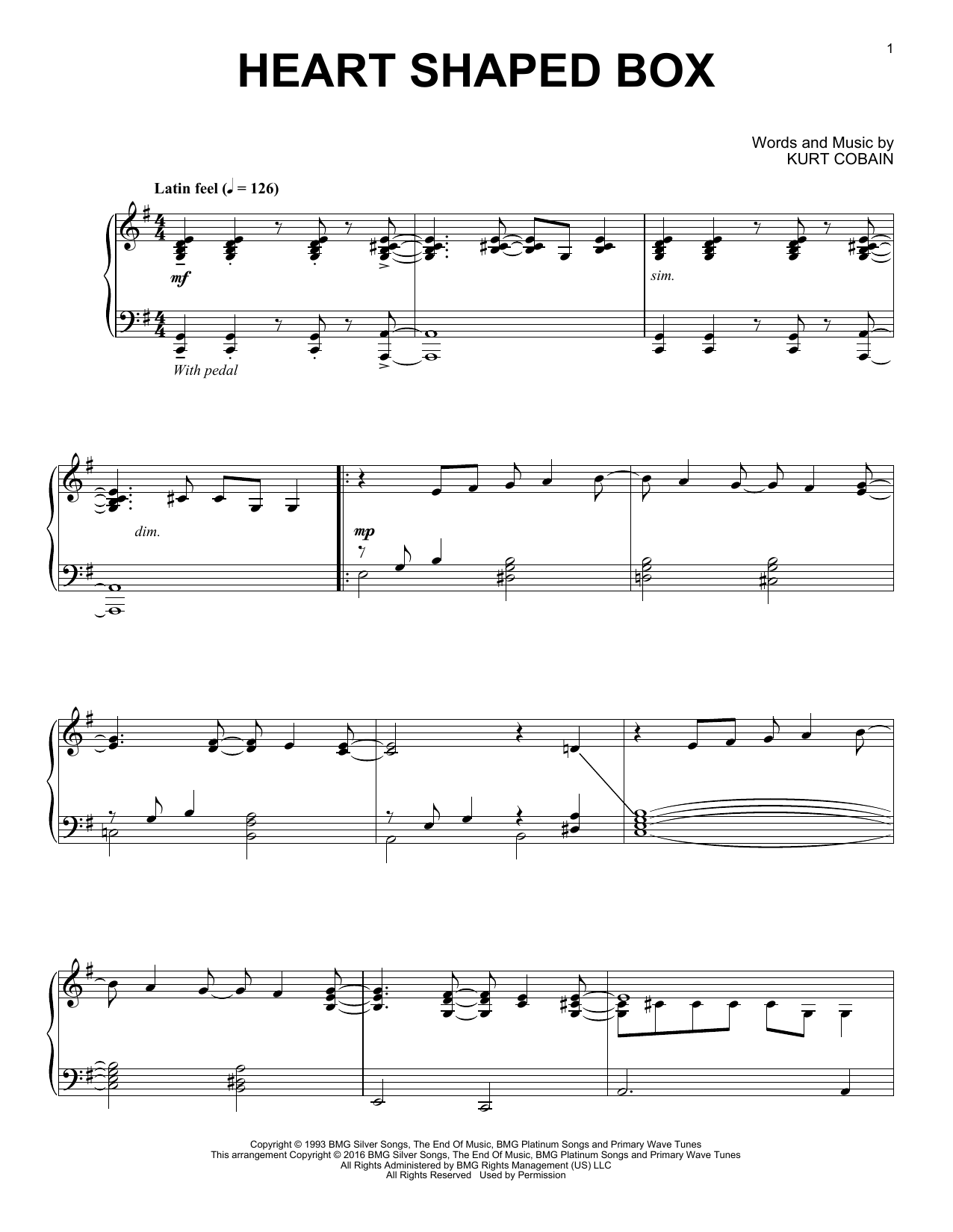 Download Nirvana 'Heart Shaped Box' Digital Sheet Music Notes & Chords and start playing in minutes