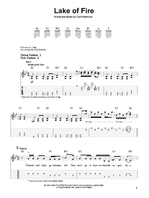 Nirvana Lake Of Fire sheet music preview music notes and score for Easy Guitar Tab including 3 page(s)