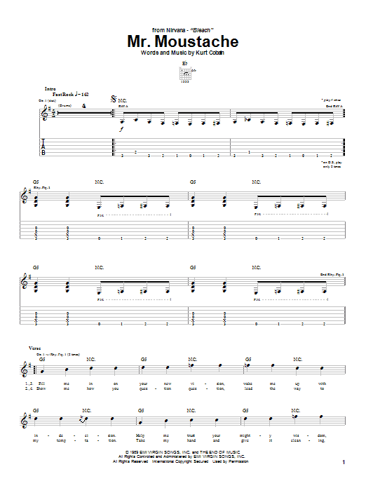 Nirvana Mr. Moustache sheet music notes and chords