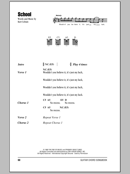 Nirvana School sheet music preview music notes and score for Piano, Vocal & Guitar (Right-Hand Melody) including 3 page(s)