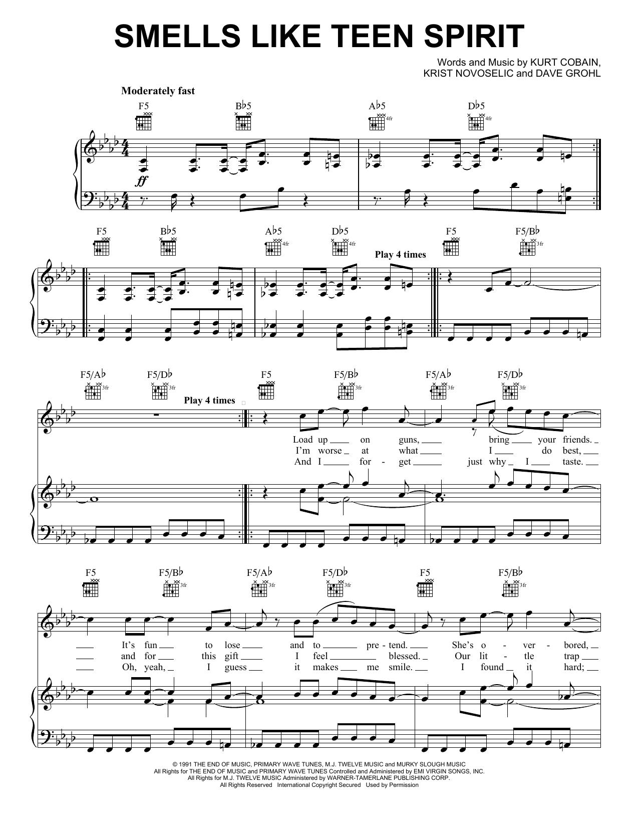 Nirvana Smells Like Teen Spirit sheet music notes and chords