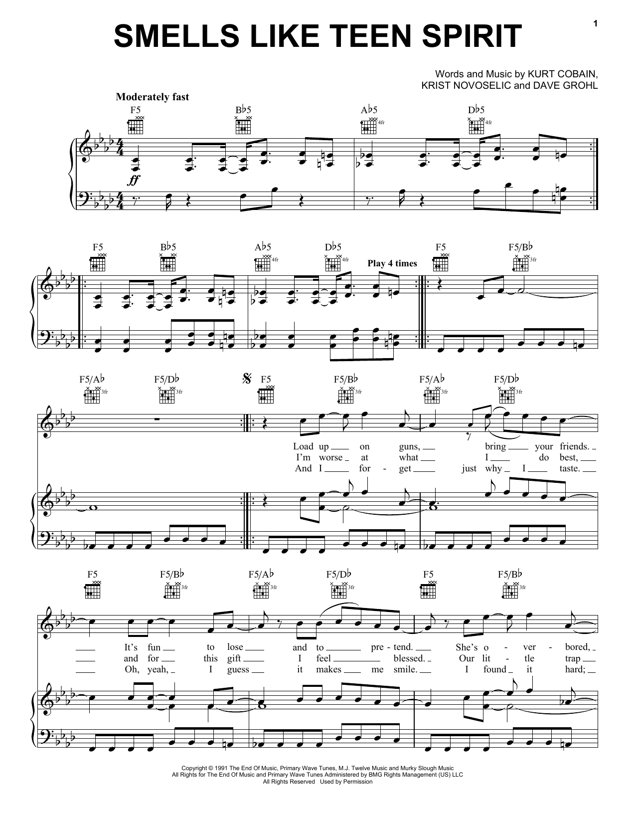 Nirvana Smells Like Teen Spirit sheet music preview music notes and score for Easy Piano including 7 page(s)