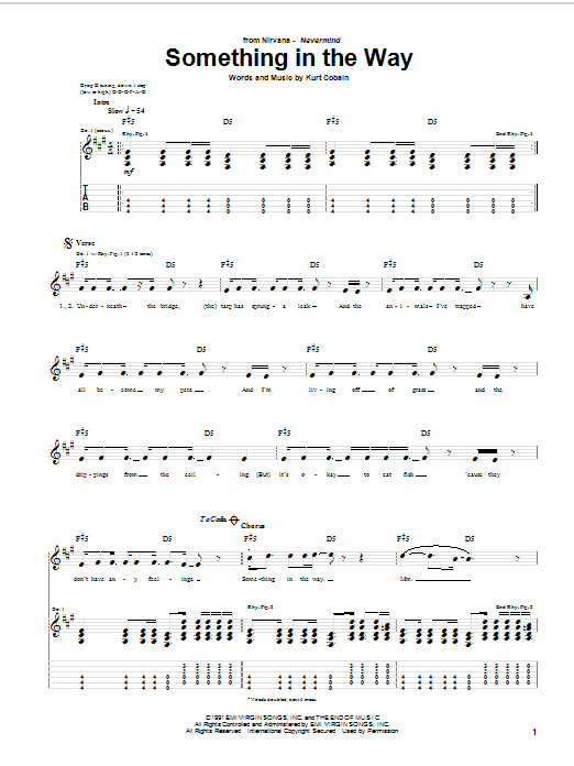 Nirvana Something In The Way sheet music notes and chords