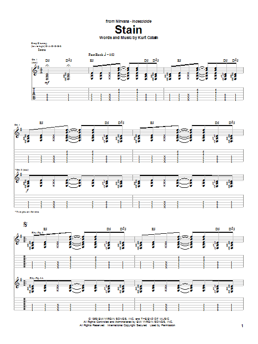 Nirvana Stain sheet music notes and chords
