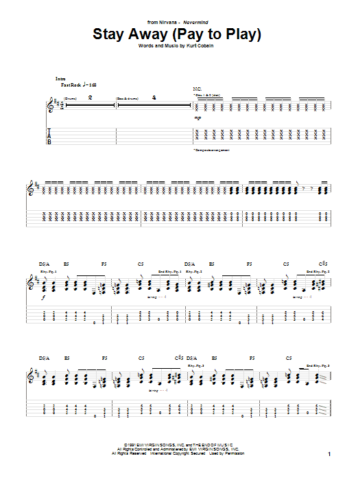 Nirvana Stay Away sheet music notes and chords