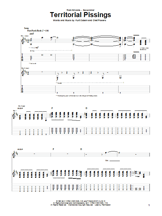 Nirvana Territorial Pissings sheet music notes and chords
