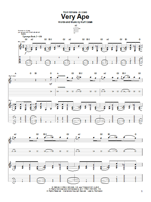 Nirvana Very Ape sheet music notes and chords