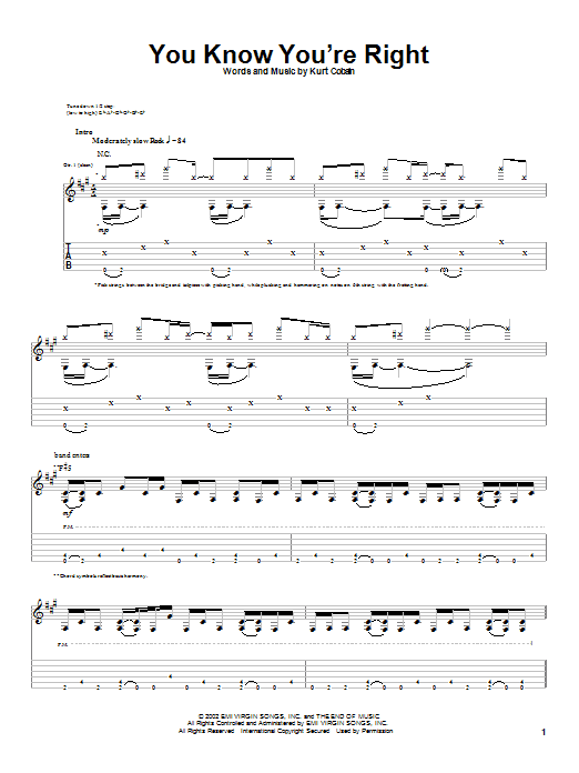 Nirvana You Know You're Right sheet music notes and chords