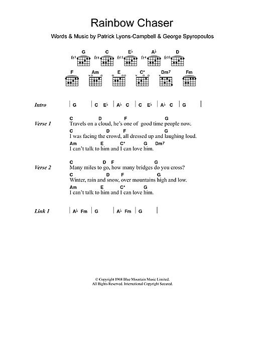 Nirvana (UK) Rainbow Chaser sheet music notes and chords