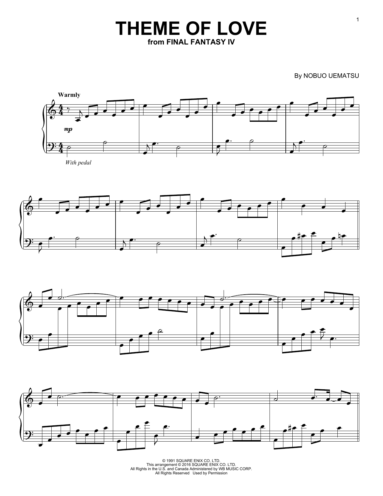 Nobuo Uematsu Theme Of Love sheet music notes and chords