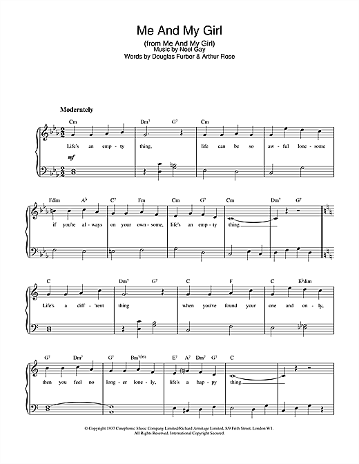 Noel Gay Me And My Girl sheet music notes and chords