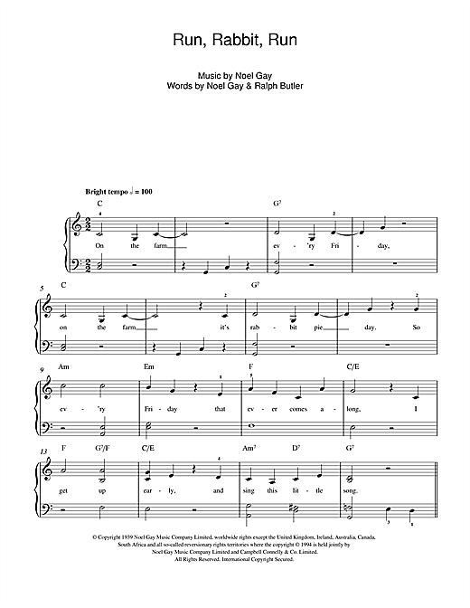 Noel Gay Run, Rabbit, Run sheet music notes and chords