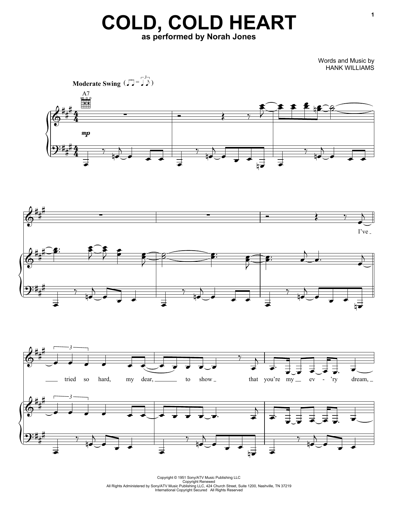 Norah Jones Cold, Cold Heart sheet music preview music notes and score for Beginner Piano including 2 page(s)