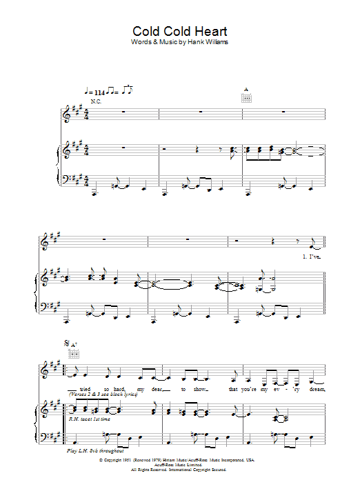 Norah Jones Cold, Cold Heart sheet music preview music notes and score for Piano, Vocal & Guitar including 5 page(s)