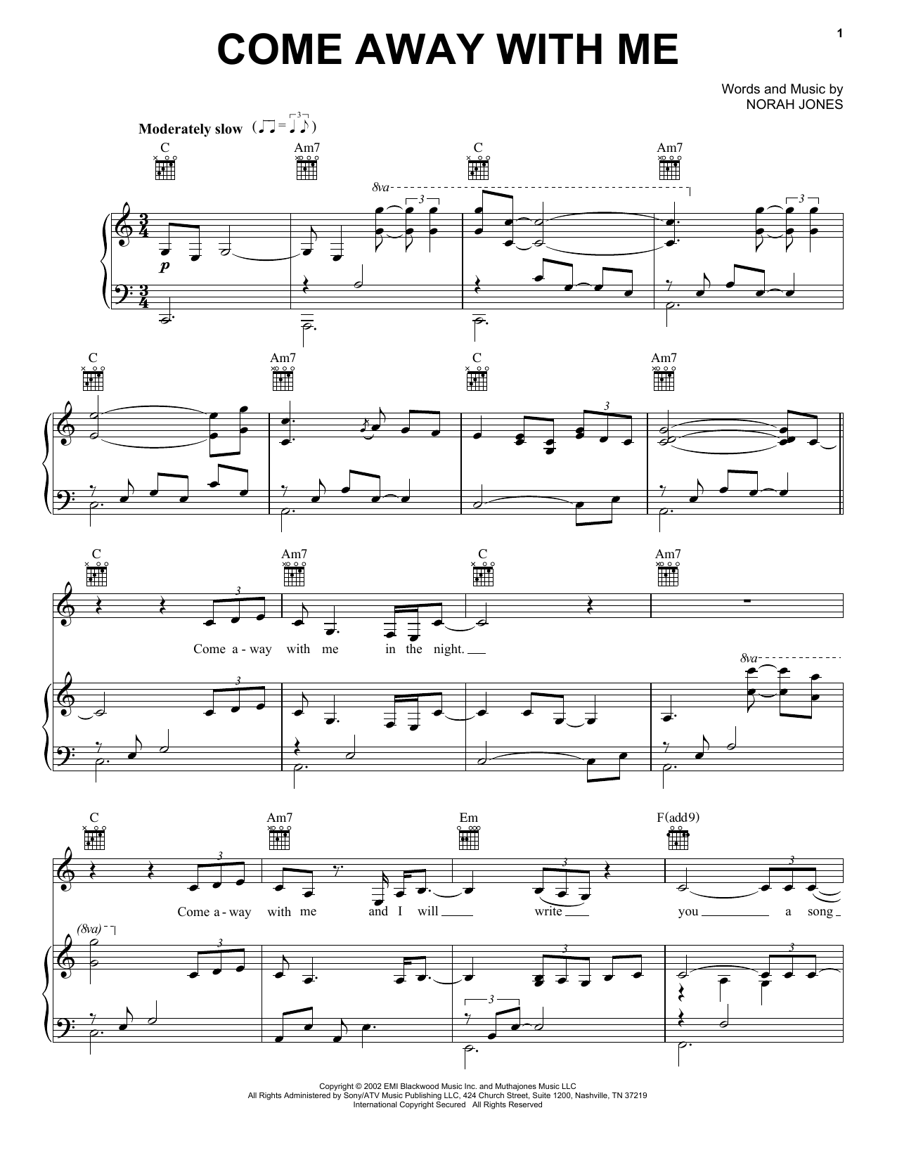 Download Norah Jones 'Come Away With Me' Digital Sheet Music Notes & Chords and start playing in minutes