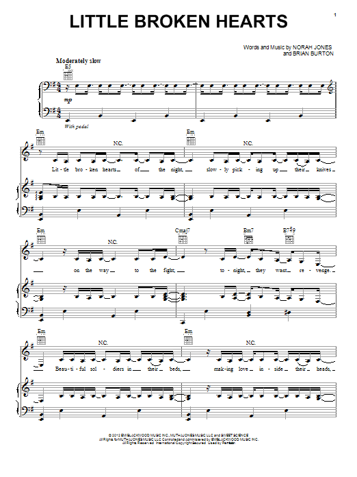 Norah Jones Little Broken Hearts sheet music preview music notes and score for Piano, Vocal & Guitar (Right-Hand Melody) including 5 page(s)