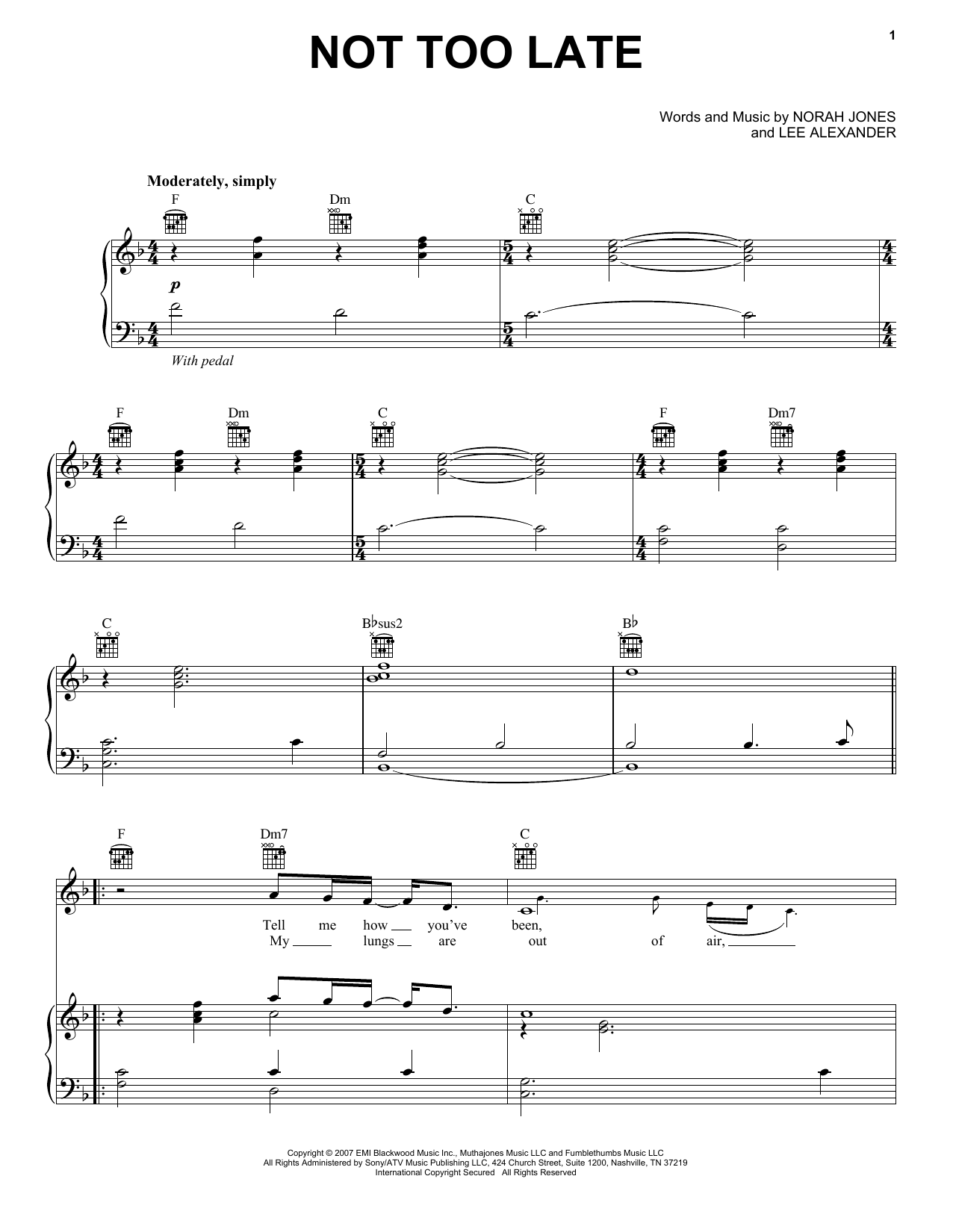 Norah Jones Not Too Late sheet music preview music notes and score for Piano, Vocal & Guitar (Right-Hand Melody) including 5 page(s)