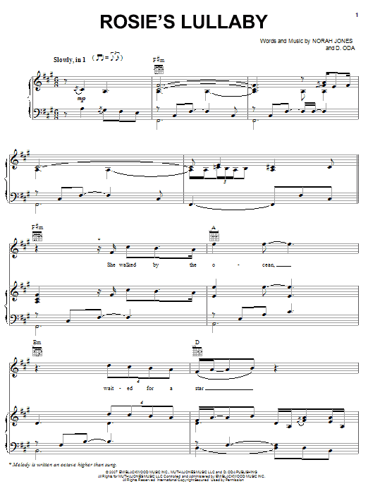 Norah Jones Rosie's Lullaby sheet music preview music notes and score for Piano, Vocal & Guitar (Right-Hand Melody) including 6 page(s)