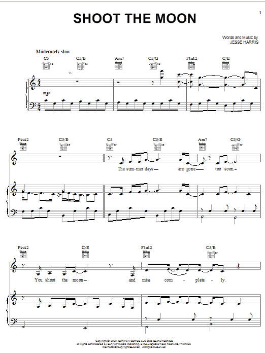 Norah Jones Shoot The Moon sheet music notes and chords
