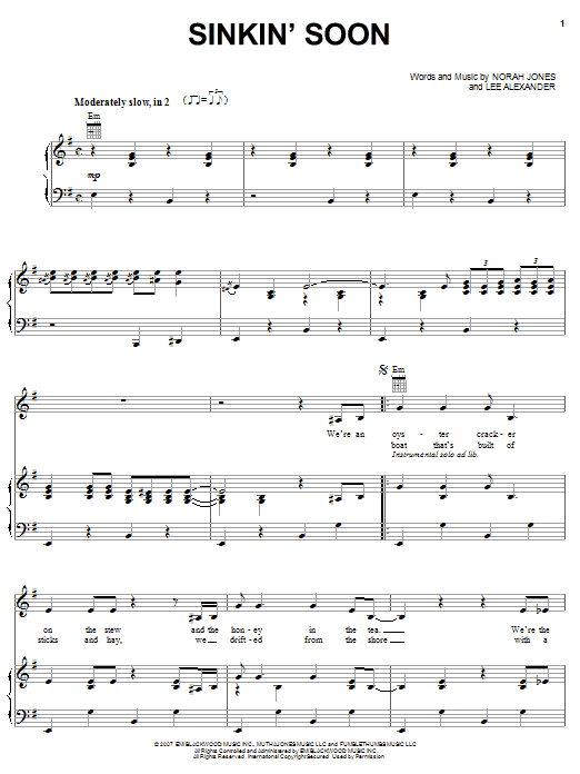 Norah Jones Sinkin' Soon sheet music preview music notes and score for Piano, Vocal & Guitar (Right-Hand Melody) including 6 page(s)