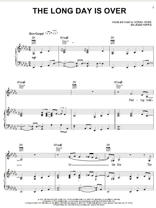 Norah Jones The Long Day Is Over sheet music notes and chords