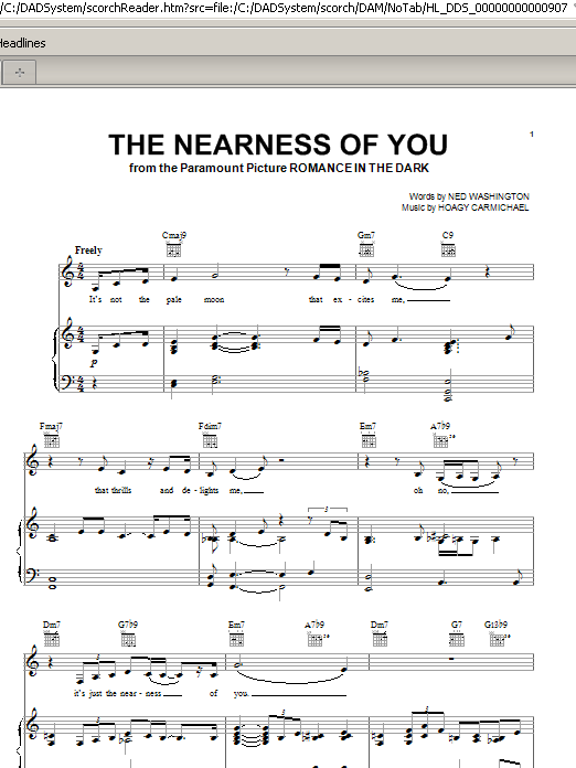 Norah Jones The Nearness Of You sheet music notes and chords