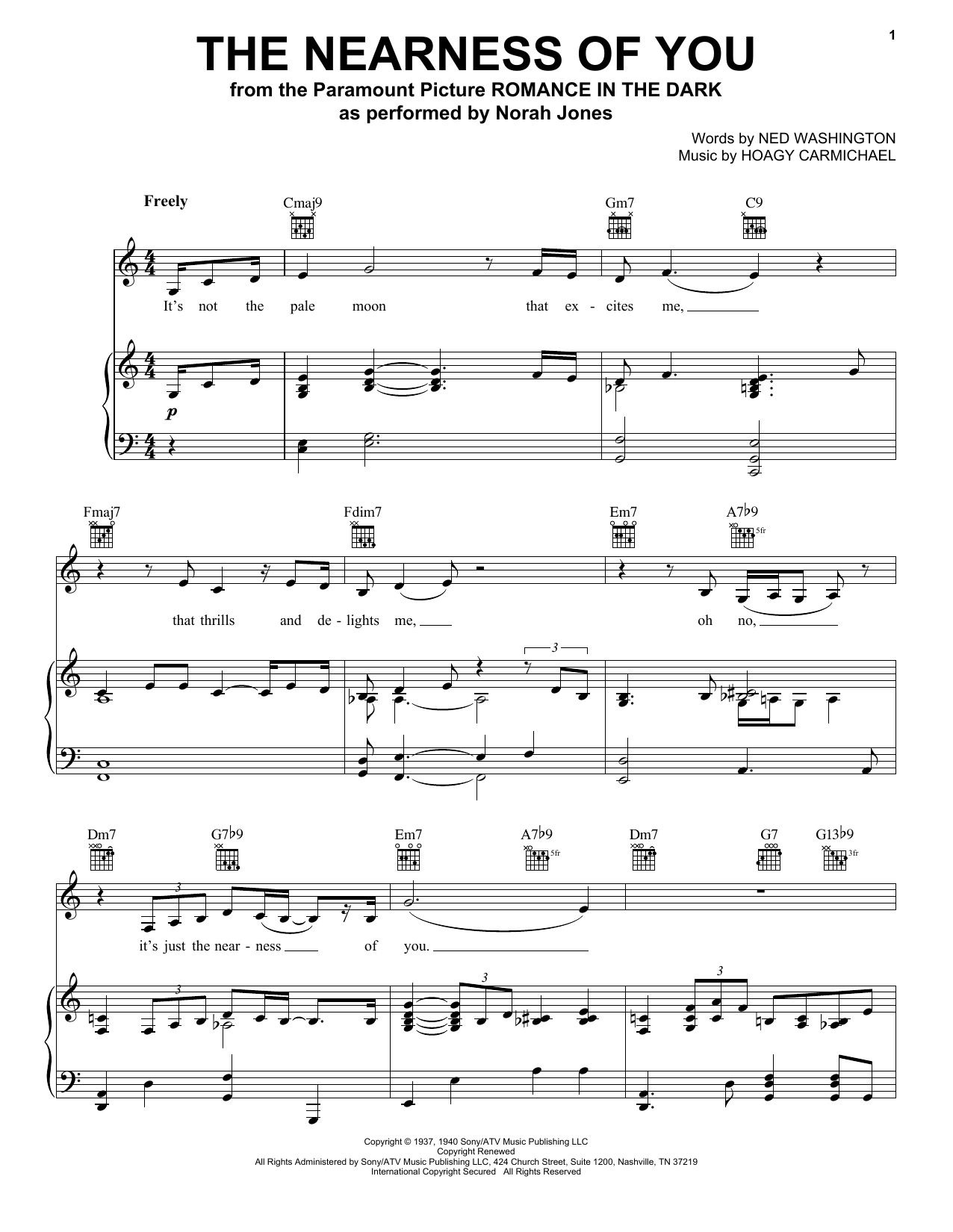 Norah Jones The Nearness Of You sheet music preview music notes and score for Piano, Vocal & Guitar (Right-Hand Melody) including 4 page(s)