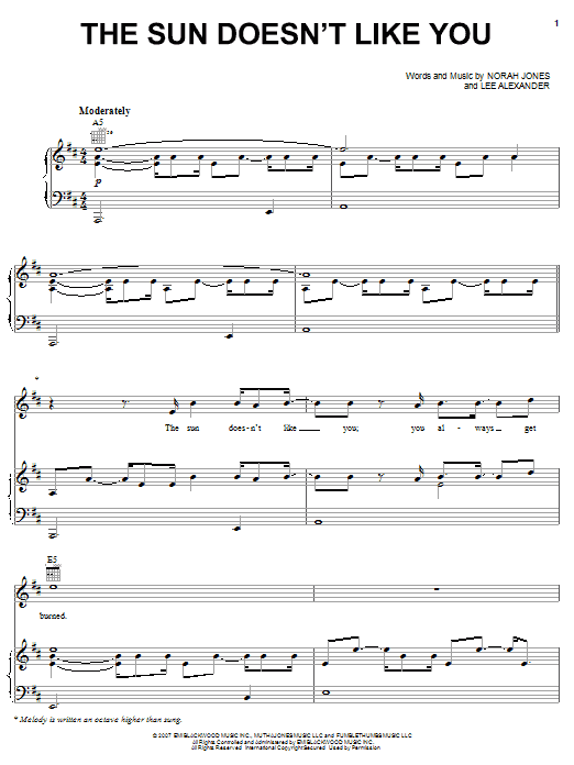 Norah Jones The Sun Doesn't Like You sheet music preview music notes and score for Piano, Vocal & Guitar (Right-Hand Melody) including 7 page(s)