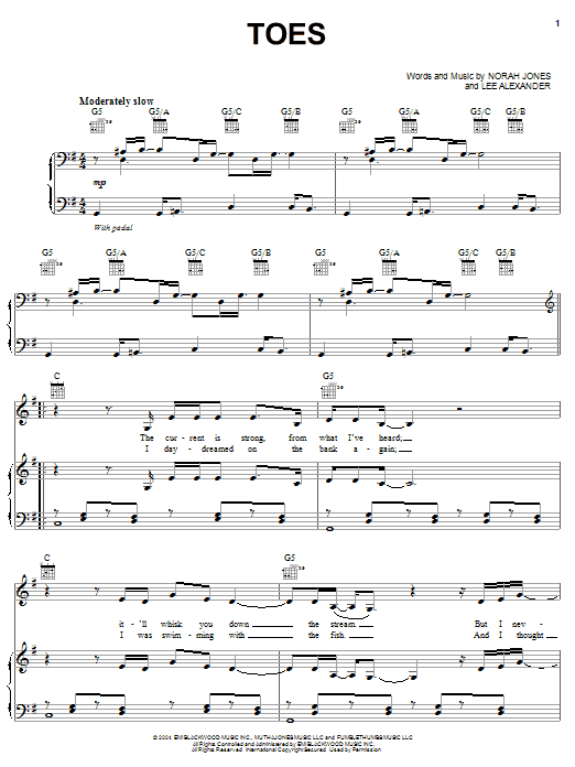 Norah Jones Toes sheet music preview music notes and score for Piano, Vocal & Guitar (Right-Hand Melody) including 5 page(s)