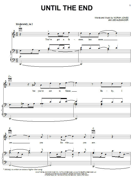 Norah Jones Until The End sheet music preview music notes and score for Piano, Vocal & Guitar (Right-Hand Melody) including 10 page(s)