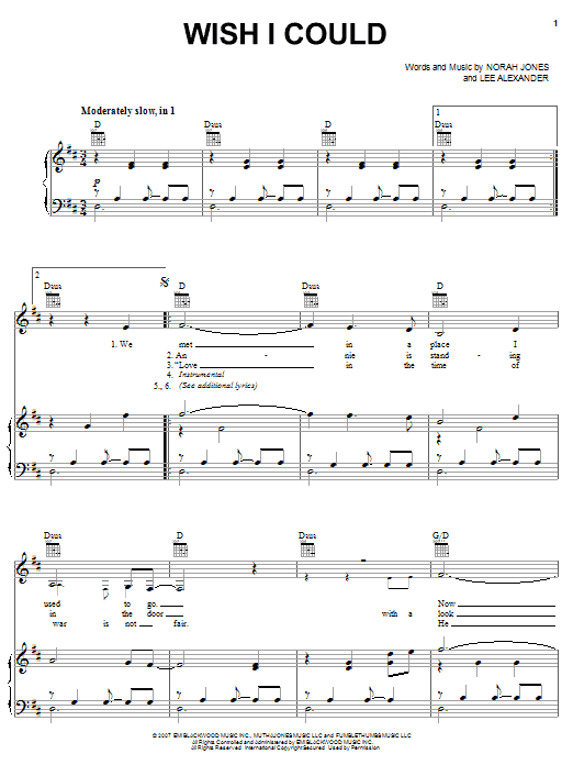 Norah Jones Wish I Could sheet music preview music notes and score for Piano, Vocal & Guitar (Right-Hand Melody) including 4 page(s)