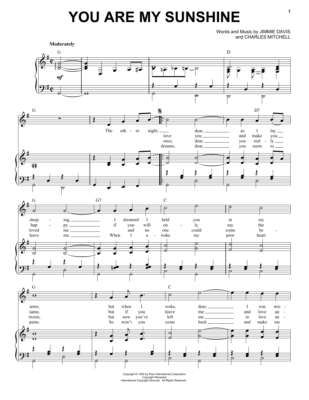 Norman Blake You Are My Sunshine sheet music notes and chords