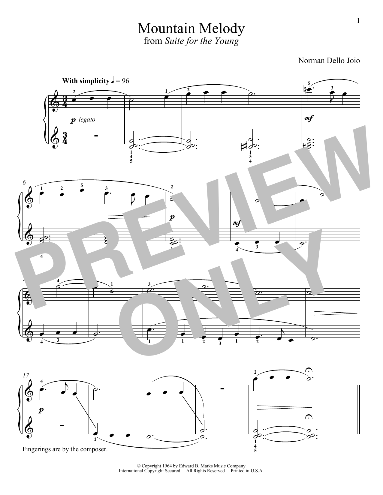 Download Norman Dello Joio 'Mountain Melody' Digital Sheet Music Notes & Chords and start playing in minutes
