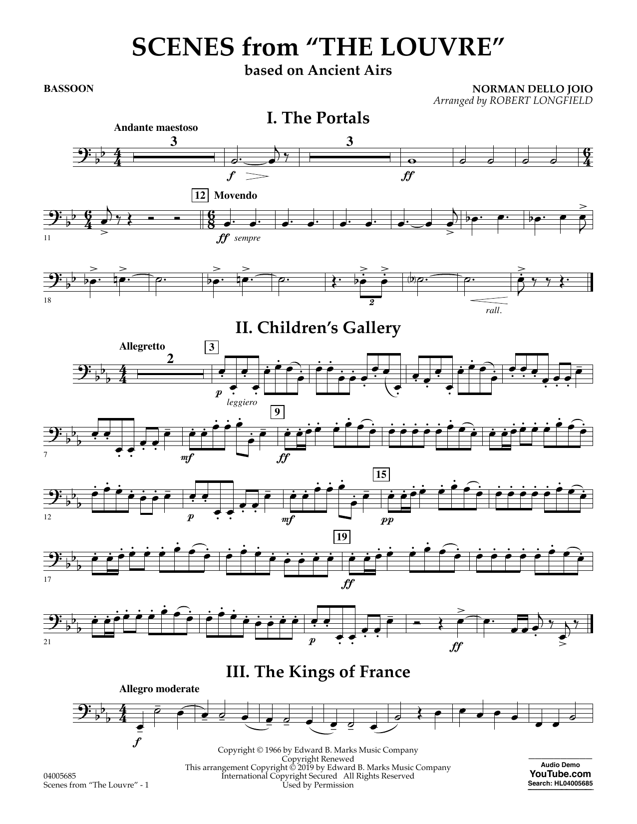 Norman Dello Joio Scenes from the Louvre (arr. Robert Longfield) - Bassoon sheet music preview music notes and score for Concert Band including 2 page(s)