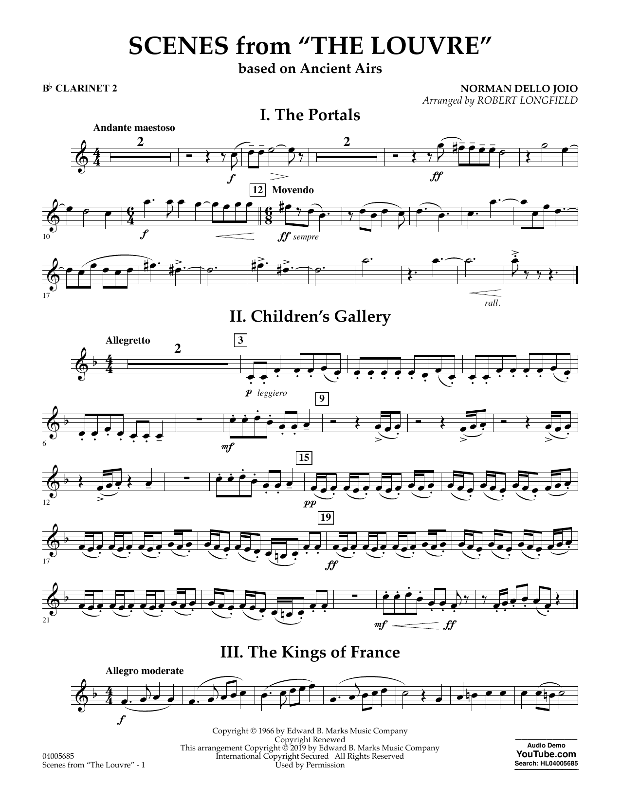 Norman Dello Joio Scenes from the Louvre (arr. Robert Longfield) - Bb Clarinet 2 sheet music preview music notes and score for Concert Band including 2 page(s)