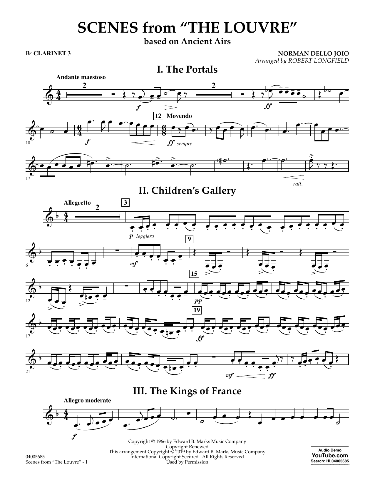 Norman Dello Joio Scenes from the Louvre (arr. Robert Longfield) - Bb Clarinet 3 sheet music preview music notes and score for Concert Band including 2 page(s)