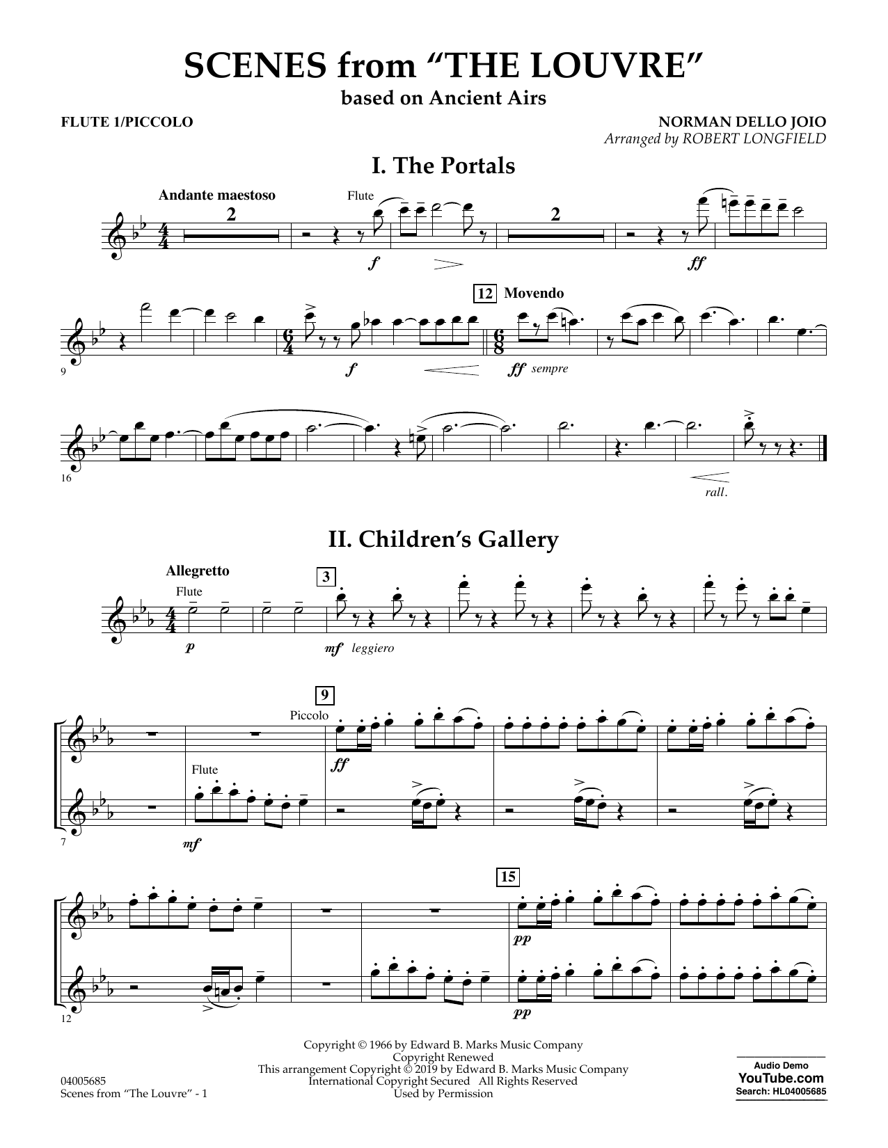 Norman Dello Joio Scenes from the Louvre (arr. Robert Longfield) - Flute 1 (Piccolo) sheet music preview music notes and score for Concert Band including 3 page(s)