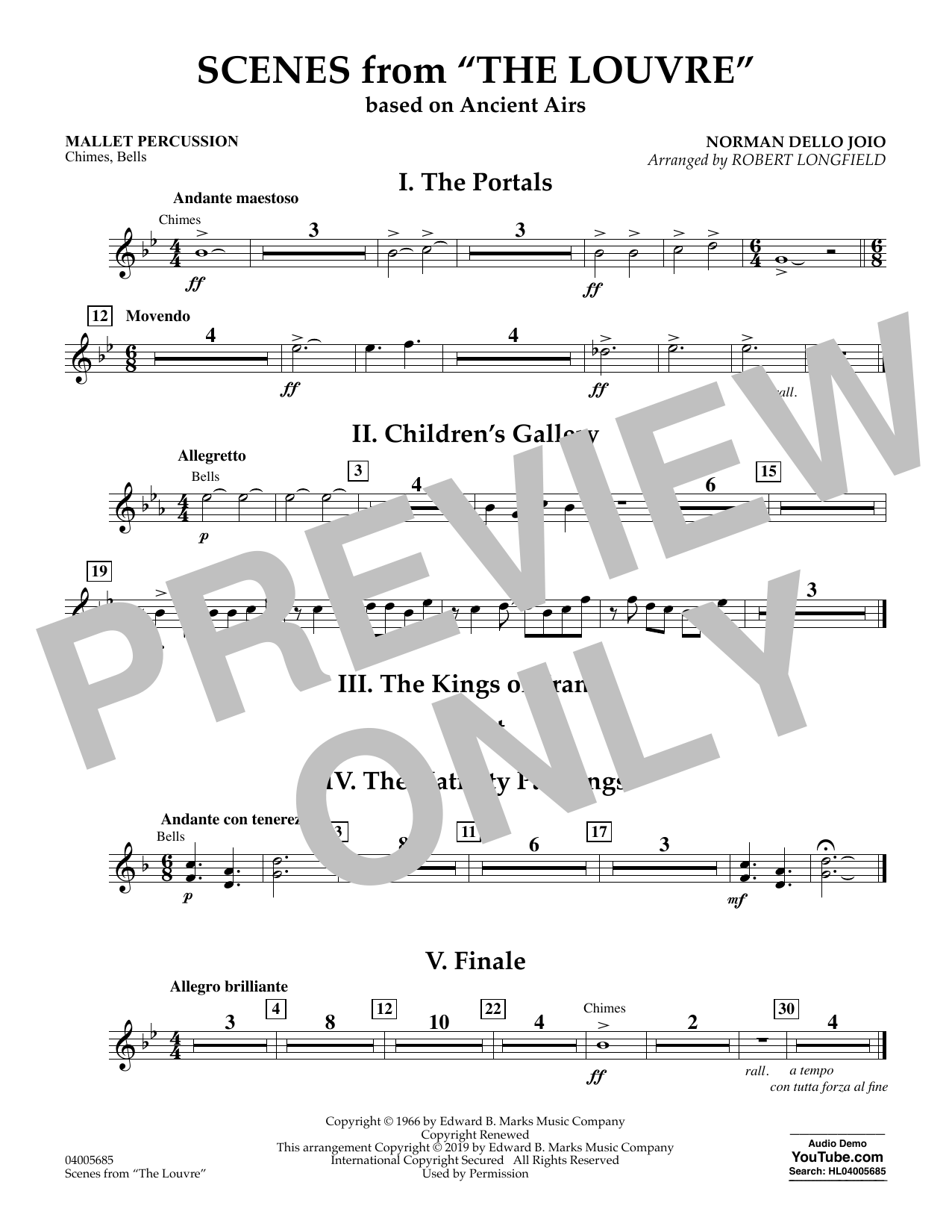 Norman Dello Joio Scenes from the Louvre (arr. Robert Longfield) - Mallet Percussion sheet music preview music notes and score for Concert Band including 1 page(s)